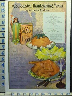1920 Mazola Cooking Oil Turkey Dinner Thanksgiving Holiday Vintage Ad  Ae94