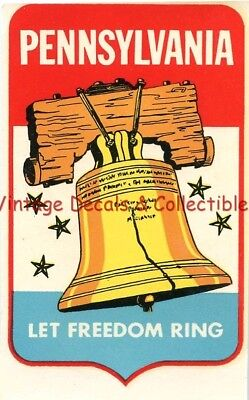 """Vintage Luggage Travel Decal Pennsylvania State Liberty Bell """"let Freedom Ring"""""""