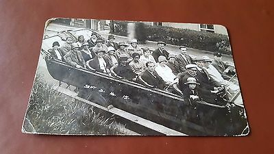 Vintage Postcard Charabanc and customers early 20th Century Real Photograph