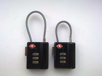 2 x CABLE TSA APPROVED COMBINATION LUGGAGE LOCKS  (BLACK)