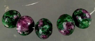 dkd/ 146cts 5 NATURAL 18mm RUBY in Zoisite Beads