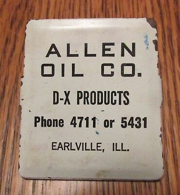 D-X Products Gasoline tin Advertising clip Earlville ILLINOIS Allen Oil Co.