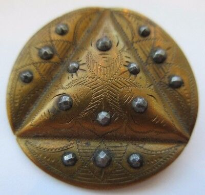 Spectacular LARGE Antique Victorian Etched Metal BUTTON w/ Cut Steel Accents