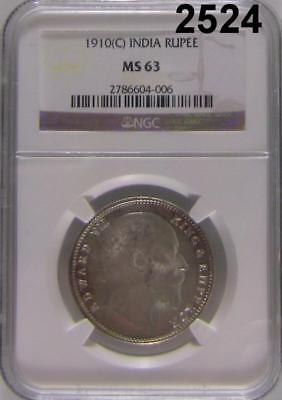 1910 C Ngc Certified Ms 63 India Rupee Touch Of Color! #2524