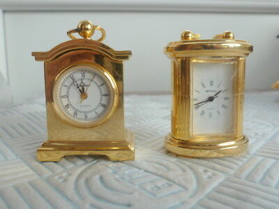 Two Miniature Brass Carriage Clocks Unistar And Imperial