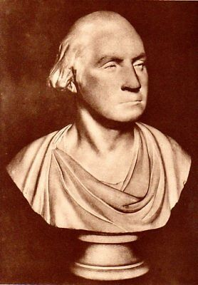 George Washington Houdon Bust 1914 Antique Art Print American Revolutionary War