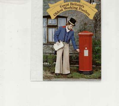 Postcard of Oldest Continual use Postbox, Barnes Cross. Canc on 1st day of sale