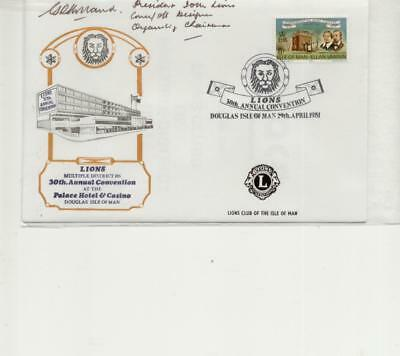 Isle of Man 1981 Lions Club Convention Cover signed by the President IOM Lions