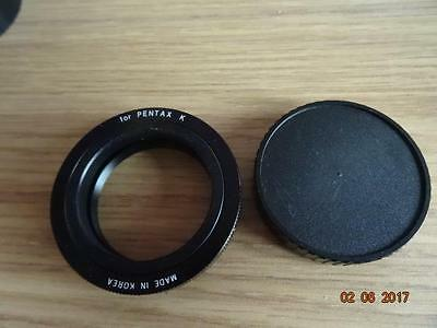 PENTAX K fit T mount adapter with rear cap for slide copier or telescope