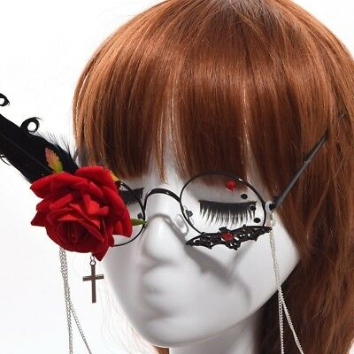 1Pr Steampunk Glasses with Tassel Chain Flower Feather Pattern Cosplay Props