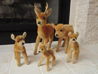 Rare Steiff 5 Piece Deer Family Male W/antlers, Female & 3 Small Deer
