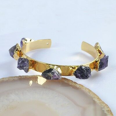 Freeform Rough Natural Amethyst Bangle Gold Plated T039642