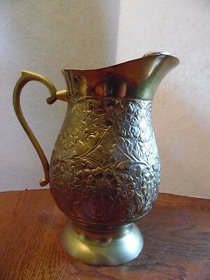 "Vintage Ornate Brass Decorative Embossed Floral Pitcher Made In India 9"" Tall"