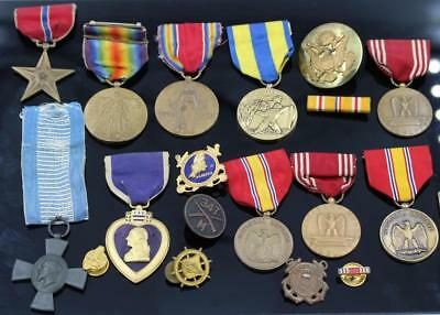 Massive Unknown Mixed Lot Of Wwii & Other Era Medals & Pins -See Photos-