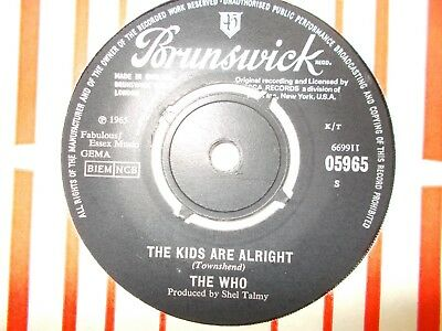 "Ex  Uk  Brunswick 45 - The Who - ""the Kids Are Alright"" / ""the Ox"""