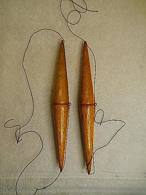 """Antique Wood Fishing Floats Bobbers Lot of 2 ....8 1/4"""" Long Natural Color NR"""