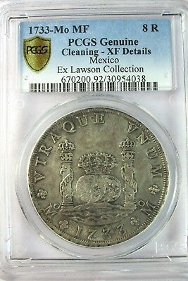 Mexico Pillar 1733-Mo MF 8 Reales Silver Coin PCGS XF Details Philip V