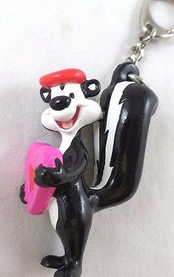 PVC Pepe Le Pew Figure Key ring Toy Warner Brothers Looney Tunes Lot WB Topper