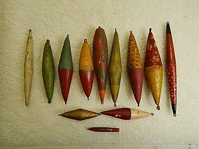 Antique Wood Fishing Floats Bobbers Lot of 12 Hand Painted Unique Colors NR