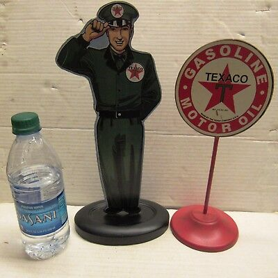 Pair Texaco Figural Station Attendant & Pole Sign Counter Top Signs Enameled Tin