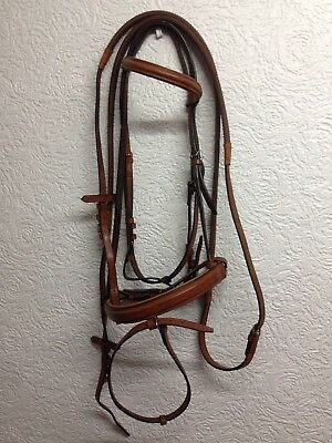 Gallop Tan Cob size bridle and rubber reins padded comfort  noseband flash strap