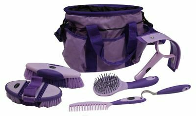 Showman 6 piece soft grip grooming kit with nylon carrying bag. PURPLE HORSE TAC