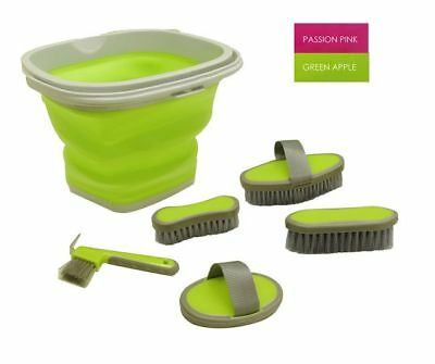 green apple 5 Piece grooming kit with collapsible bucket. HORSE TACK