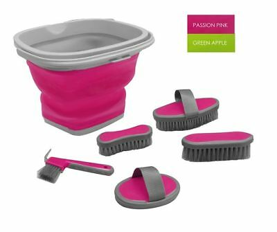 PASSION PINK 5 Piece grooming kit with collapsible bucket. HORSE TACK