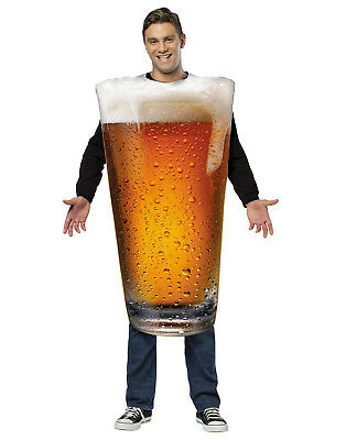 Get Real Beer Pint Glass Adult One Piece Halloween Costume-One Size