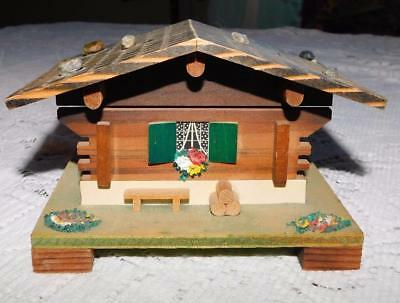 Vintage Reuge Swiss Chalet Music Box Edelweiss Works