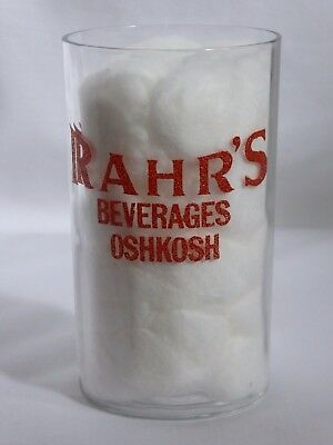 RARE 1930's RAHR'S BREWERY BEVERAGES OSHKOSH SHELL CHASER BEER PANEL GLASS WIS!
