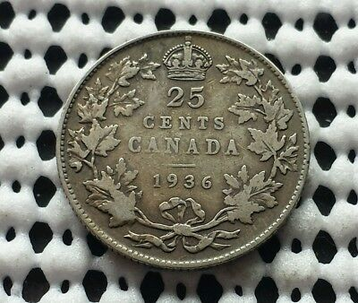 1936 ❀ King George V ❀ 25 Cent Canada Silver Quarter Dollar Coin