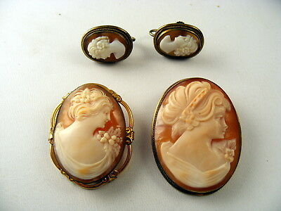 Lot Vintage Shell Cameo 2 Pins + 1 Screw-back Earrings