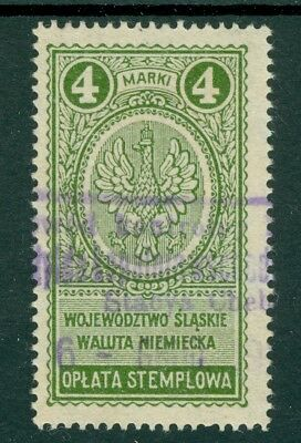 Poland – 1922 Upper Silesia 4 Mark Waluta Niemiecka - German Currency - Revenue