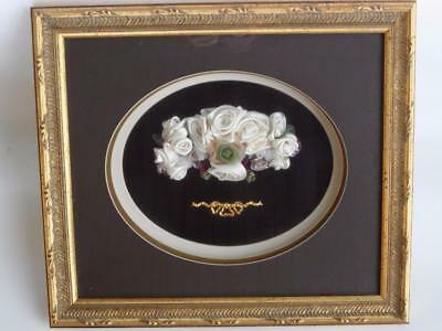 Ornate Gold Frame Framed Shadow Box Hand Made Ribbon Art Roses Floral
