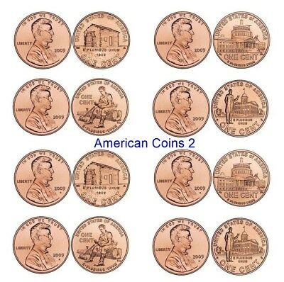 2009 P+ D *SET OF 8* with the VDB on the sholder of LINCOLN BICENTENNIAL UNC