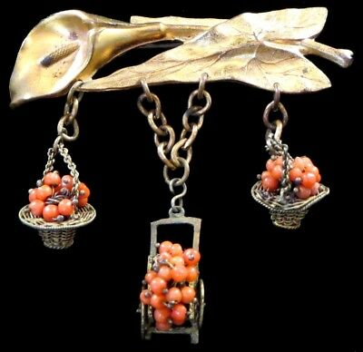 PRETTY Vintage Goldtone Lily Leaf Dangling Coral Bead Baskets Cart Pin