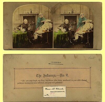 ~1859 LSC Genre Stereoview, Influenza Treatment Rigors and Humor Reverse
