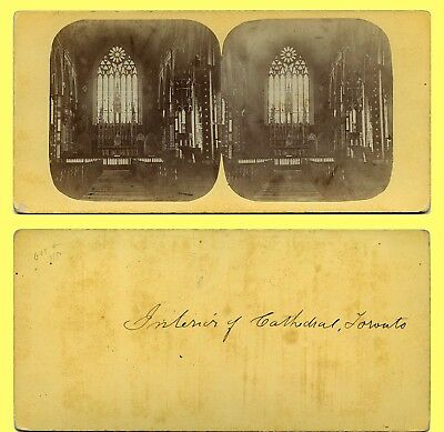 EXC Early Notman (?) Stereoview, Toronto Canada Cathedral Interior