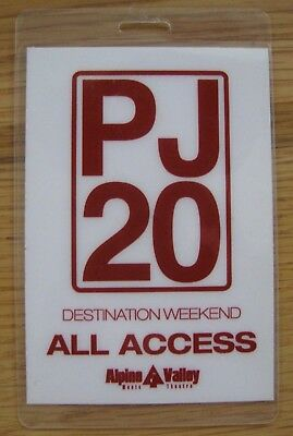 PEARL JAM PJ20 Laminated Backstage Pass 2012 Alpine Valley ALL ACCESS