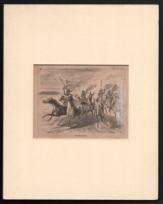 Native Americans Stampeding Horses MATTED c1869 Harpers Monthly Engraved Print