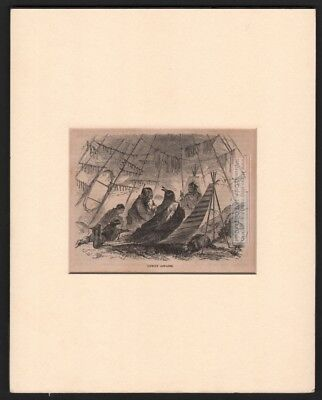 Native Americans In Tipi - Tepee MATTED c1869 Harpers Monthly Engraved Print