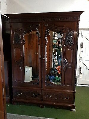 Antique,late Victorian,carved Solid Mahogany Double Wardrobe,bevelled Mirrors