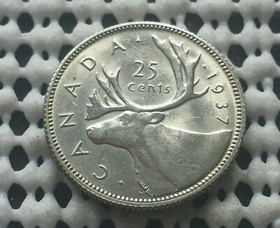 1937 ❀ Lustrous ❀ 25 Cent Canada Silver Quarter Dollar King George V Coin