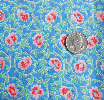 Vtg Blue Pink Floral 40's Cotton Feed Sack Quilt Fabric Tiny Flowers 46 x 37