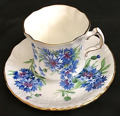 VINTAGE HAMMERSLEY CUP & SAUCER BLUE CARNATIONS ca 1950s