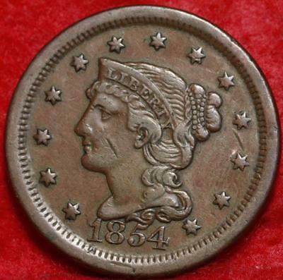 1854 Philadelphia Mint Copper Braided Hair Large Cent Free S/H