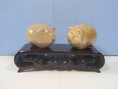 Vintage ceramic pigs one pair display wood stand new old stock ciurca 1980s