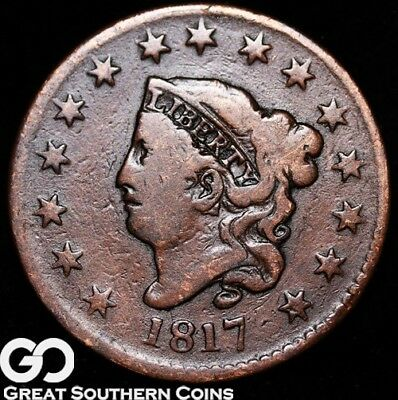 1817 Large Cent, Coronet Head, Tougher Early Date, 15 Stars Variety