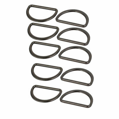 25mm Inner Width Aluminum Alloy Flat D Shaped Welded Ring Black 10pcs